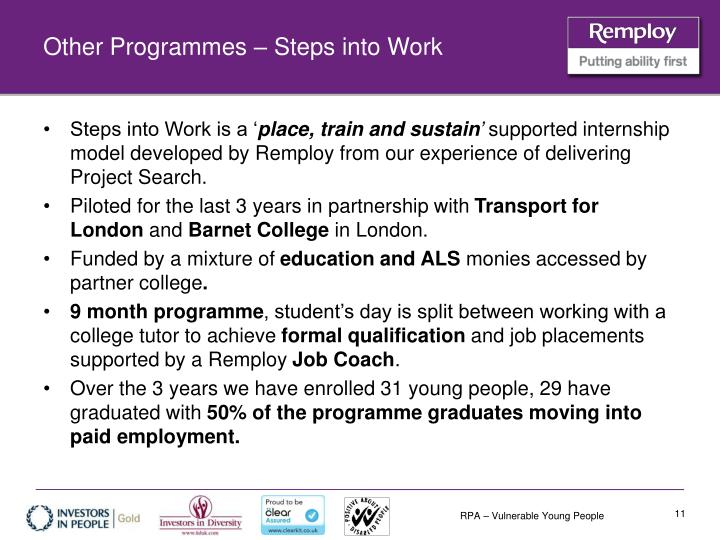 Other Programmes – Steps into Work