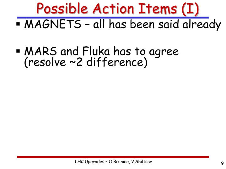 Possible Action Items (I)