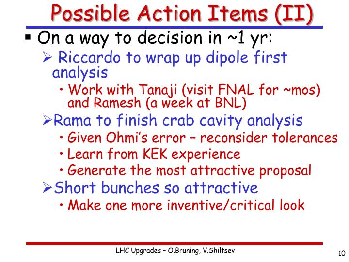 Possible Action Items (II)