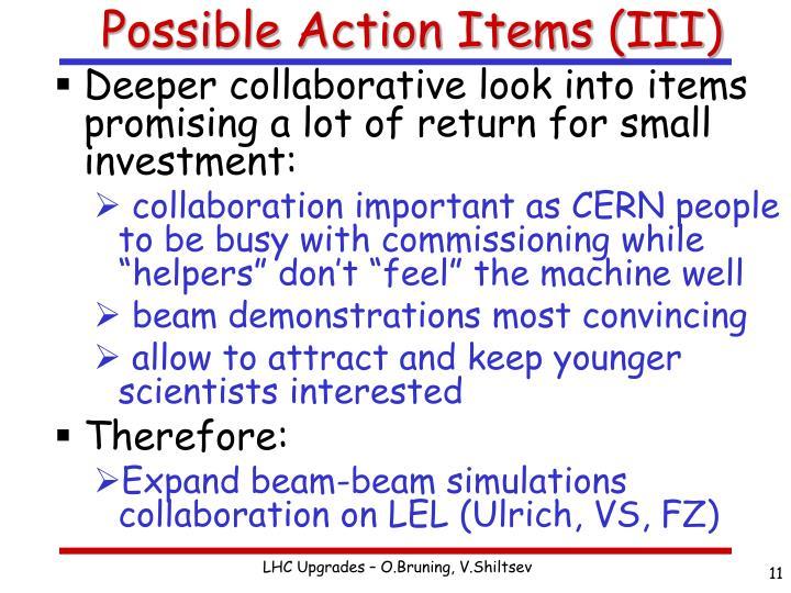Possible Action Items (III)