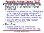 possible action items iii
