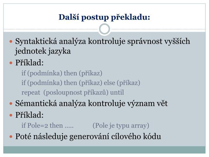 Další postup překladu: