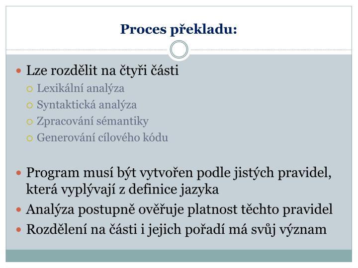 Proces překladu: