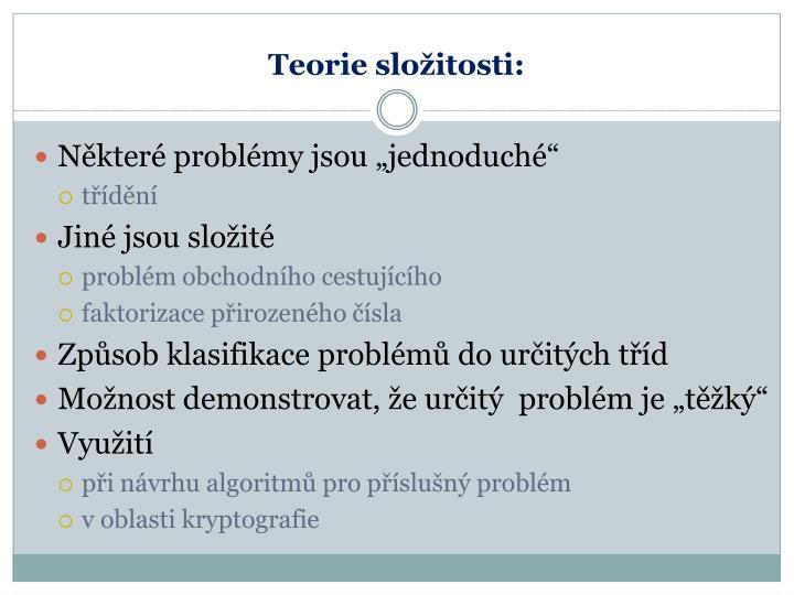 Teorie složitosti: