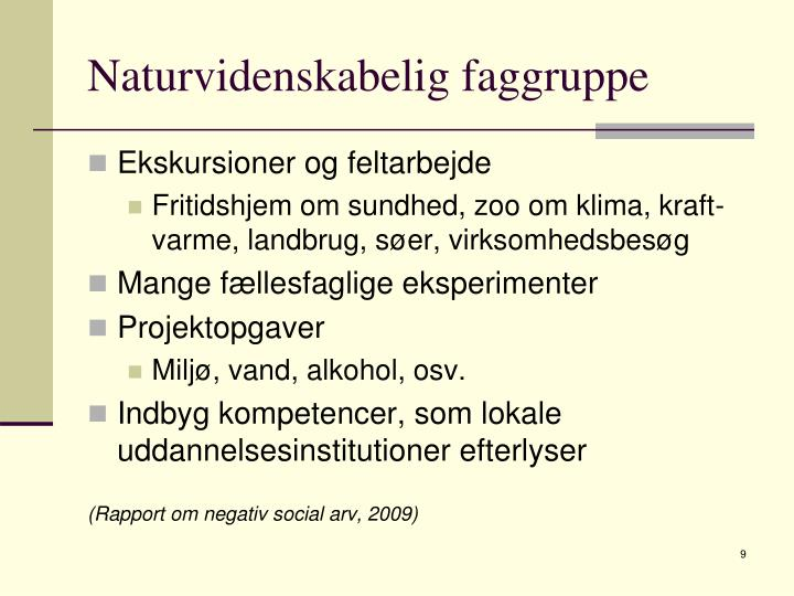 Naturvidenskabelig faggruppe