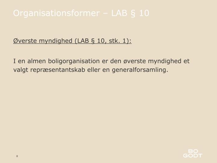 Organisationsformer – LAB § 10