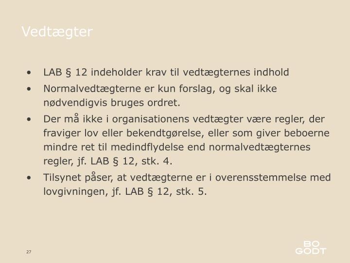LAB § 12 indeholder krav til vedtægternes indhold