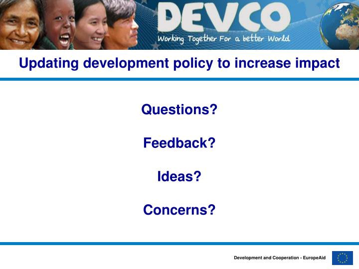 Updating development policy to increase impact