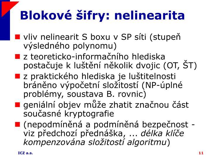 Blokové šifry: nelinearita
