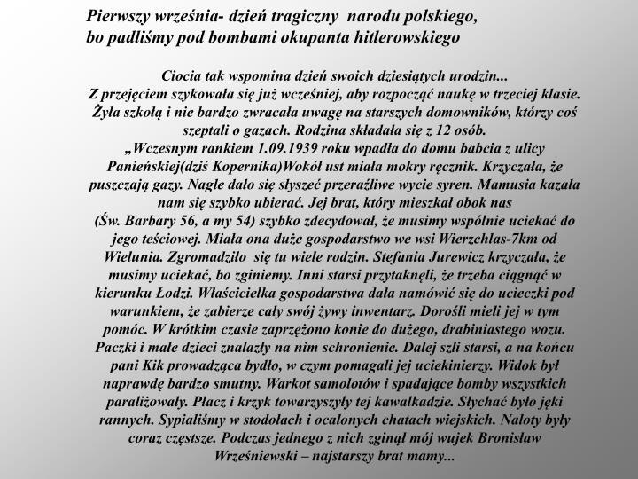 Pierwszy września- dzień tragiczny  narodu polskiego,
