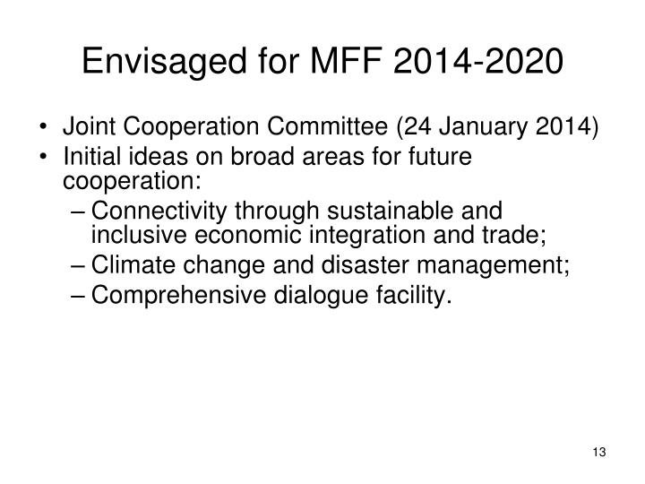 Envisaged for MFF 2014-2020