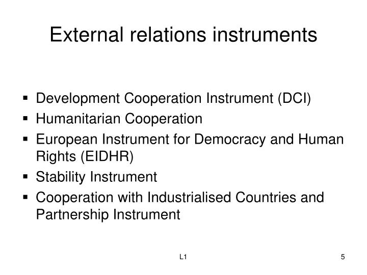 External relations instruments