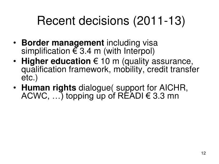 Recent decisions (2011-13)