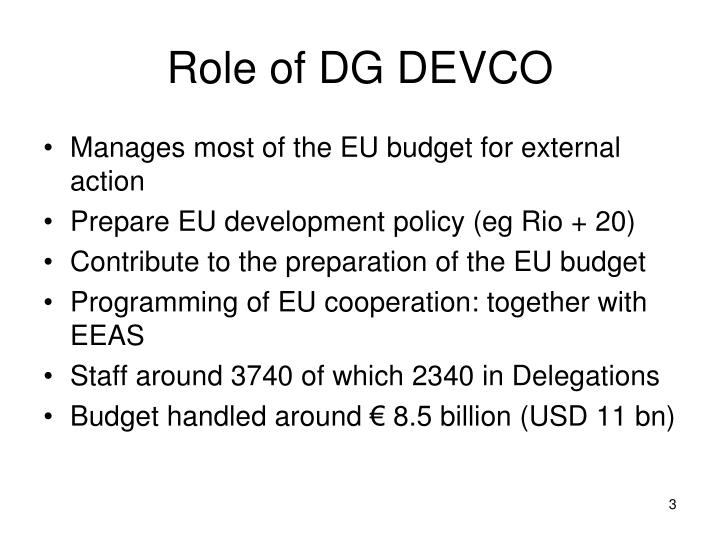 Role of DG DEVCO
