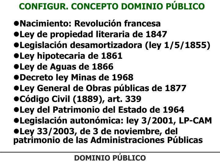 CONFIGUR. CONCEPTO DOMINIO PÚBLICO