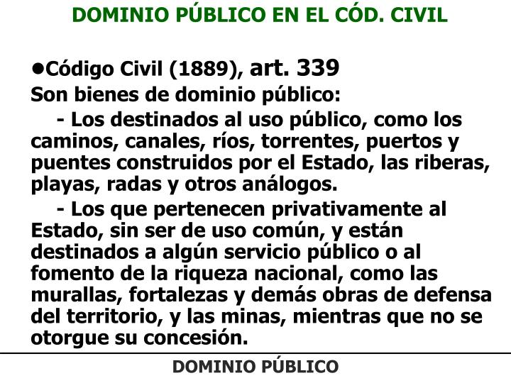 DOMINIO PÚBLICO EN EL CÓD. CIVIL