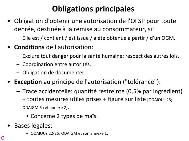 Obligations principales