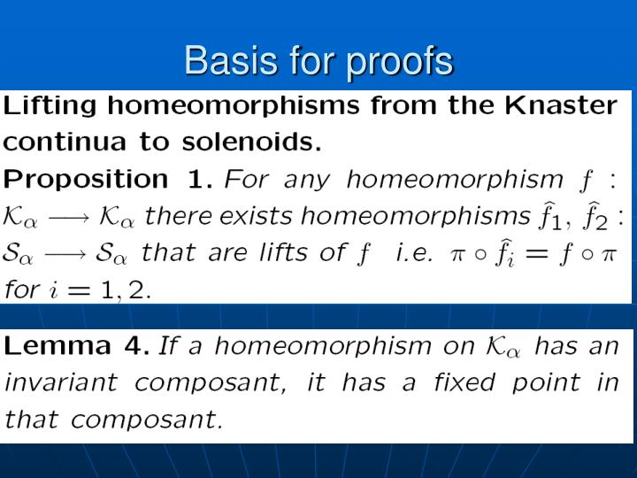 Basis for proofs