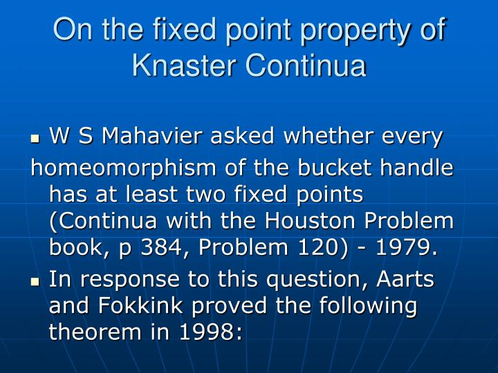 On the fixed point property of