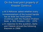 on the fixed point property of knaster continua