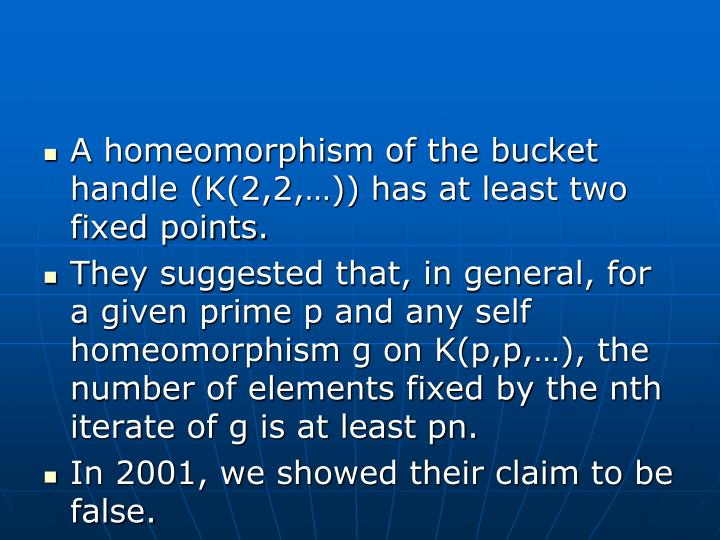 A homeomorphism of the bucket handle (K(2,2,…)) has at least two fixed points.