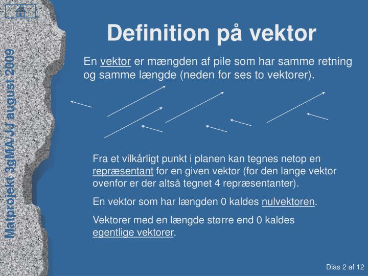 Definition på vektor