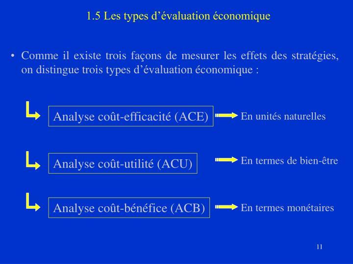 1.5 Les types d'évaluation économique