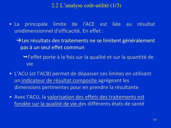 2.2 L'analyse coût-utilité (1/3)