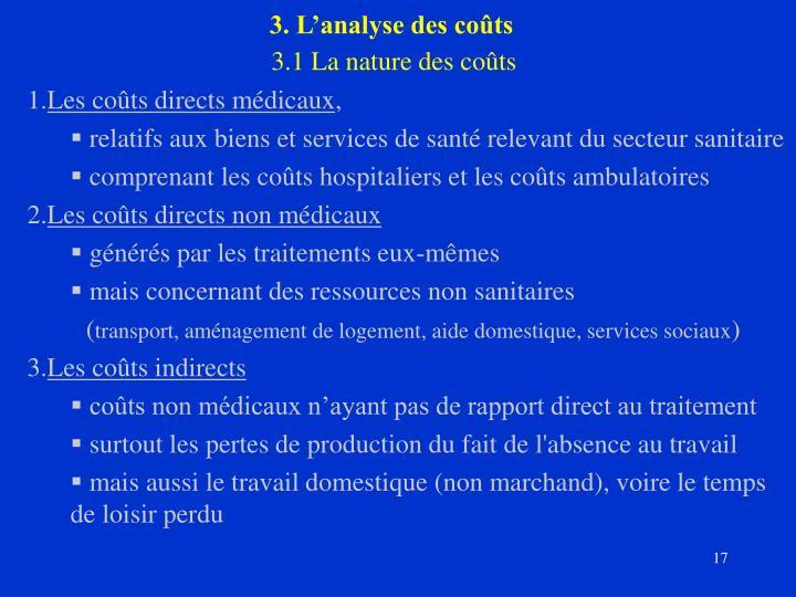 3. L'analyse des coûts