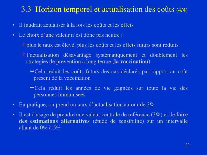 3.3  Horizon temporel et actualisation des coûts