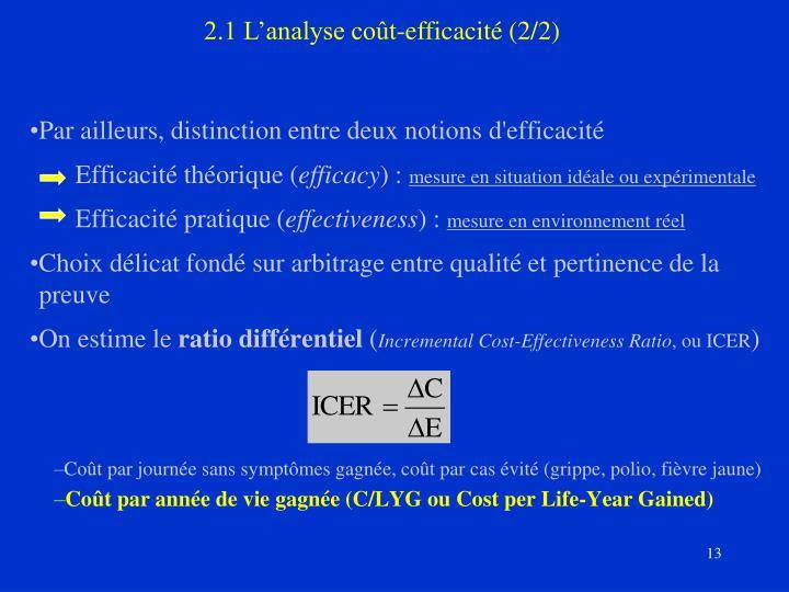 2.1 L'analyse coût-efficacité (2/2)