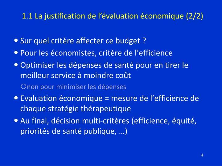 1.1 La justification de l'évaluation économique (2/2)