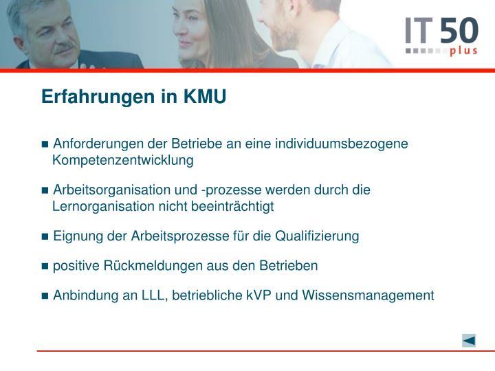 Erfahrungen in KMU