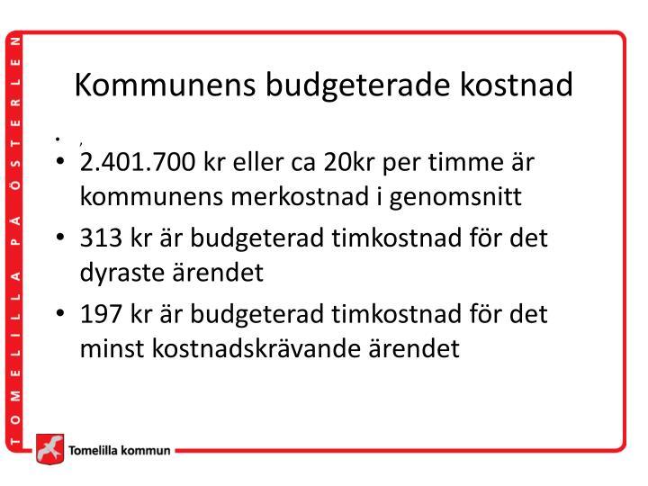 Kommunens budgeterade kostnad