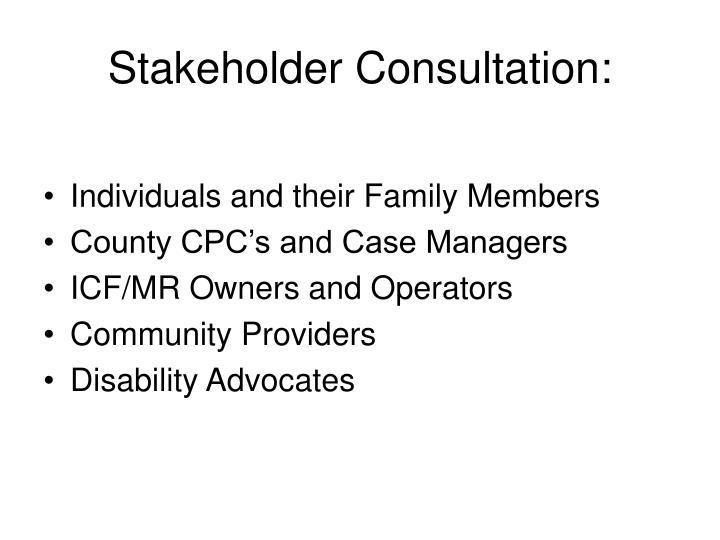 Stakeholder Consultation: