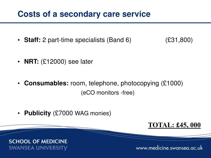 Costs of a secondary care service