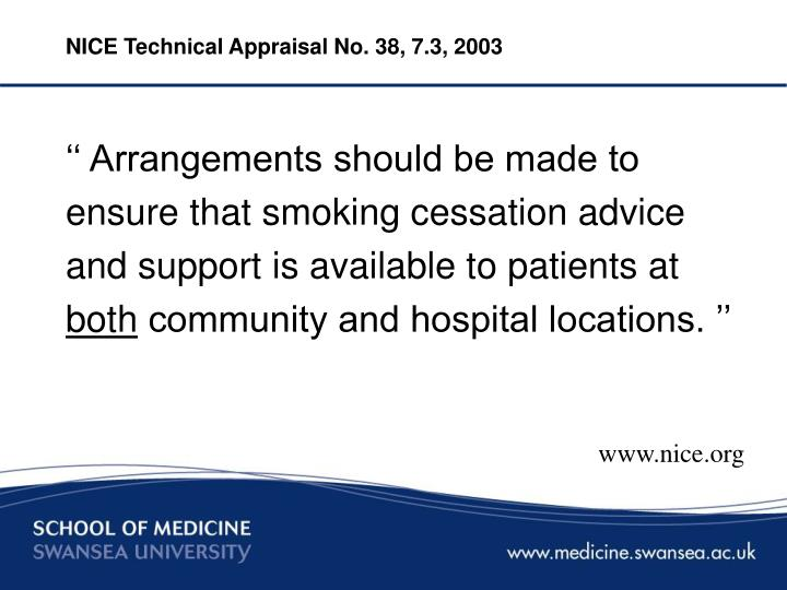 NICE Technical Appraisal No. 38, 7.3, 2003