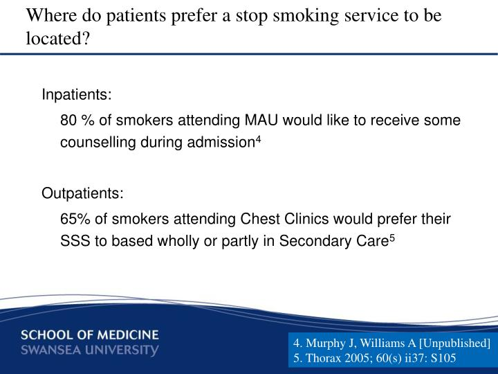 Where do patients prefer a stop smoking service to be located?