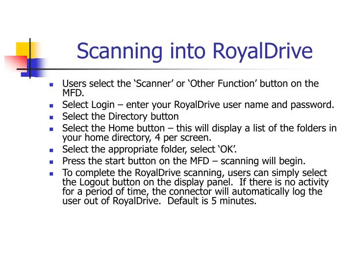 Scanning into RoyalDrive