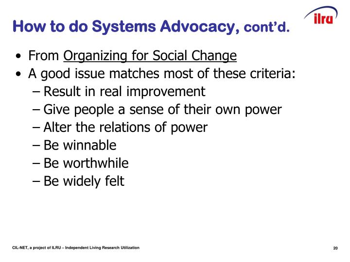 How to do Systems Advocacy,