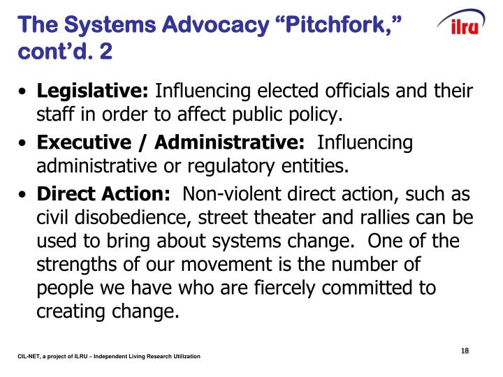 "The Systems Advocacy ""Pitchfork,"" cont'd. 2"