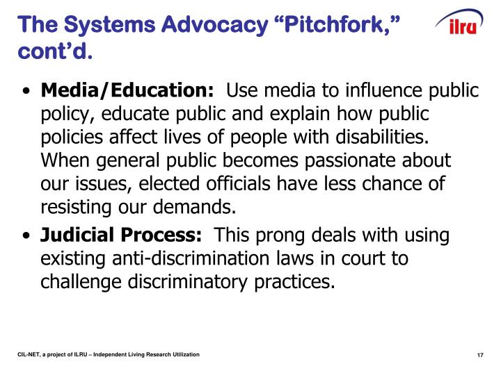 "The Systems Advocacy ""Pitchfork,"" cont'd."
