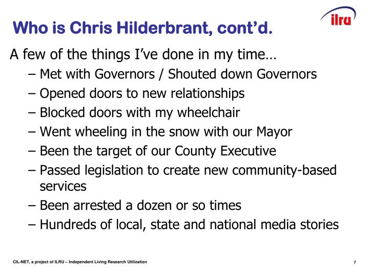 Who is Chris Hilderbrant, cont'd.