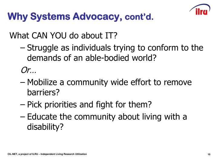 Why Systems Advocacy,