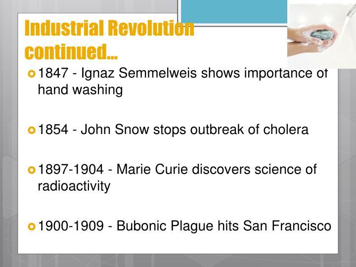 1847 - Ignaz Semmelweis shows importance of hand washing