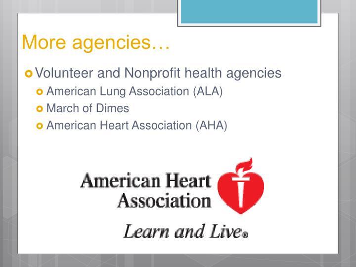 More agencies…