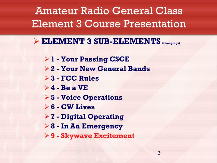 Amateur radio general class element 3 course presentation