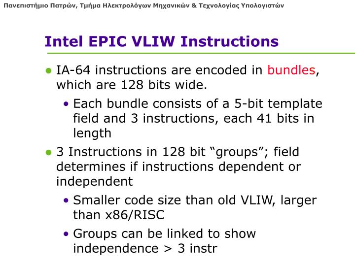 Intel EPIC VLIW Instructions