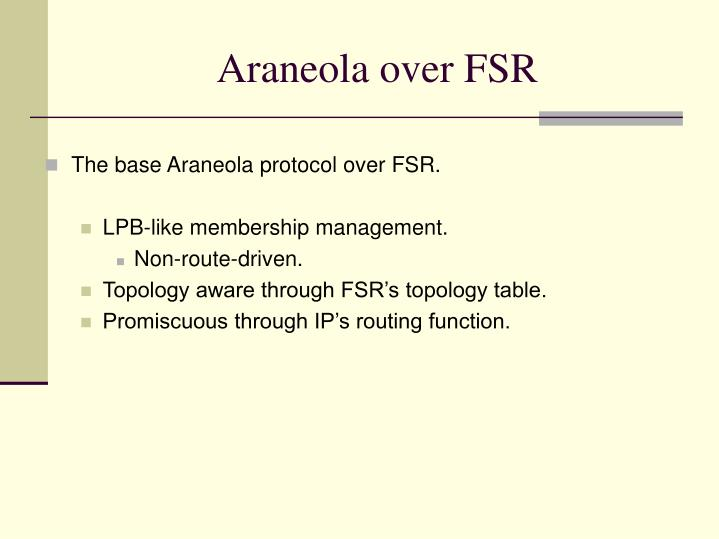 Araneola over FSR