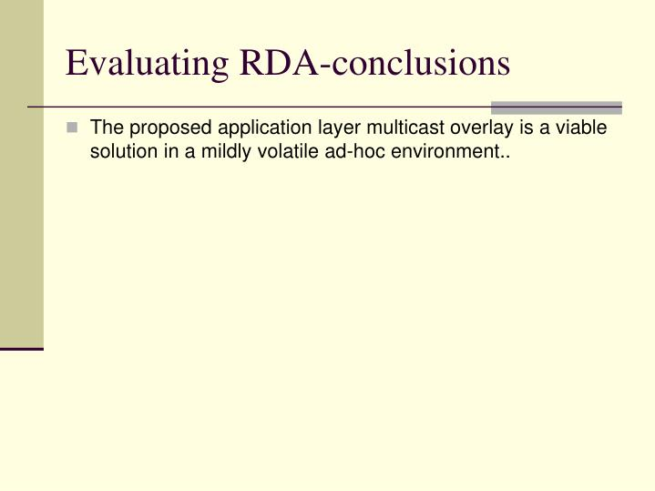 Evaluating RDA-conclusions